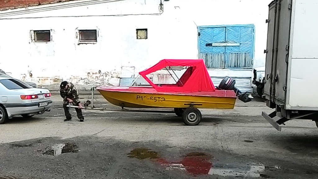Ходовой тент-трансформер на лодку «Прогресс»
